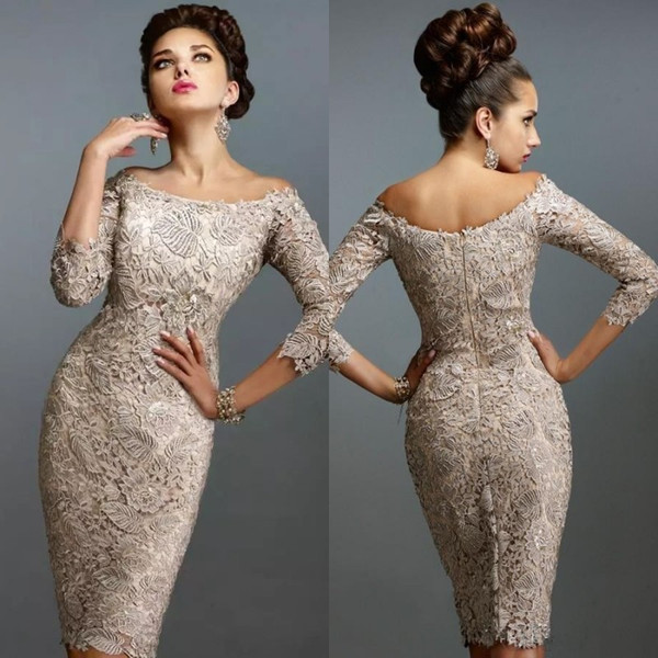 Vintage Lace Mother of The Bride Dresses Short 2019 Off The Shoulder 3 / 4 Sleeves Sheath Knee Length Champagne Formal Wedding Guest Dresses