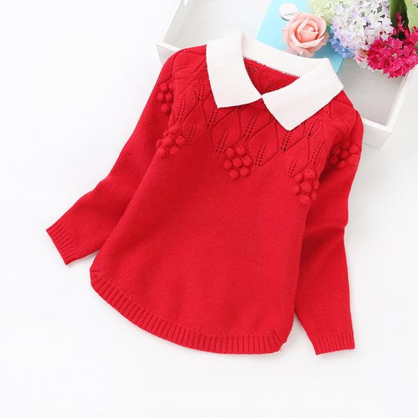 2016 nueva primavera y otoño suéteres de cachemira algodón niños suéteres niñas ropa Y1671