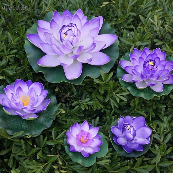 Decorations Artificial Dried Flowers Artificial Purple fake Lotus Leaves ponds flowers Water Lily waterproof Floating Pool home garden Pl...