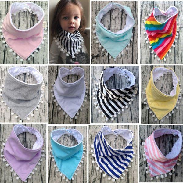 Baby Bibs Double Layer Burp Cloths Lace Tassel Slobber Cartoon Triangle Infant Saliva Towel Children Feeding Care Scarf