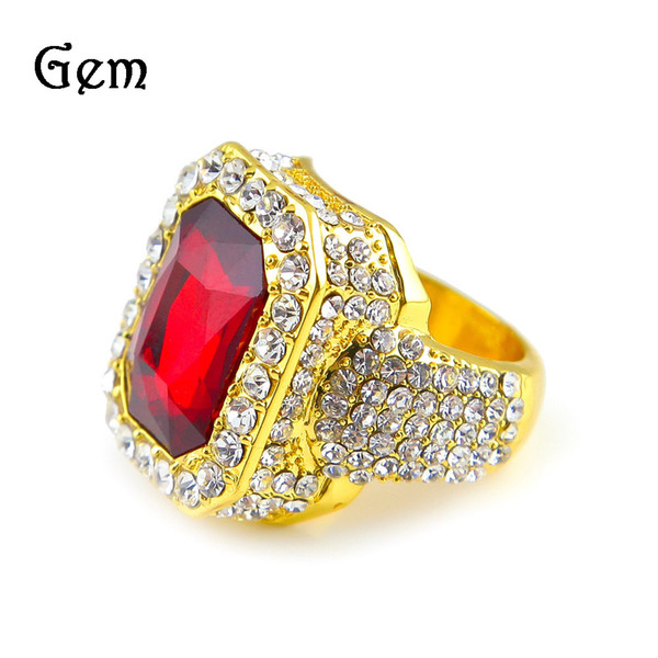 Hip - Hop Ring Rhinestone Alloy Material Gold Plated New European and American Inlaid Diamond Ring Hot Sale
