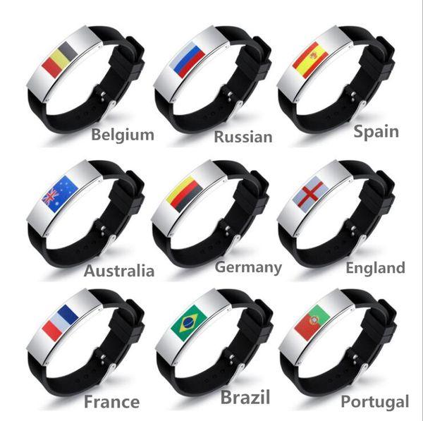 Personalidad de silicona pulseras de identificación para hombre Titanium Steel Football Fans Flag Symbol Watch corchete pulsera envío gratis