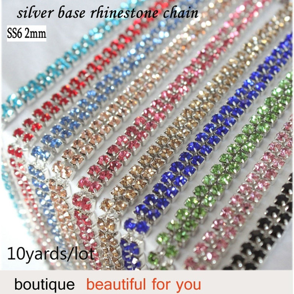 Sewing Rhinestone Chains 10yards/lot shiny crystal 2mm multicolor colors SS6 silver base close fast free shipping jewelry wholesale
