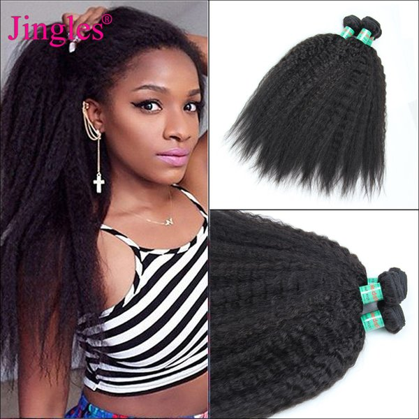 Peruvian Kinky Straight Weave Human Hair Bundles 8-28 inch Peruvian Kinky Straight Weave Coarse Yaki Hair Virgin Extensions Clearance Bundle