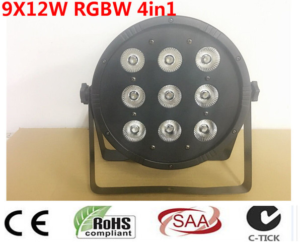 CREE 9x12W 4in1 RGBW Led Stage Light High Power LED Par Can With DMX512 Flat DJ Equipments Controller