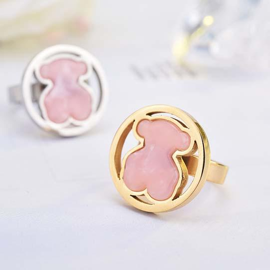 High quality Stainless steel Round Gems pink quartz stone Rings Size 6.7.8.9 cute bear silver gold plated wide band Women Men wedding rings