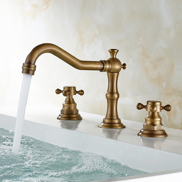 Europe Antique / Black Bronze Brass Kitchen Faucet Electroplate Black 3 - Hole Basin 3 Pieces bathroom Set Copper Taps Hot Cold