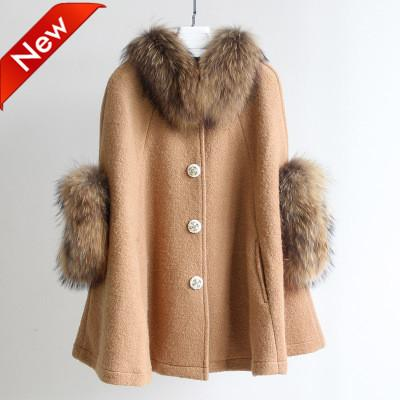 Classic Ladies Cape coat Winter wool furs coat Lapel Neck Collar and cuff with the Real Raccoon Furs
