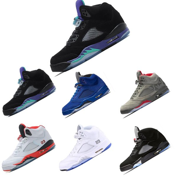 Großhandel Nike Air Jordan Retro 5 5s 2018 Neue 5 OG Black Metallic Herren Basketball Schuhe Männer Camo Oreo Bel Metallic Schwarz Weiß Traube 5s