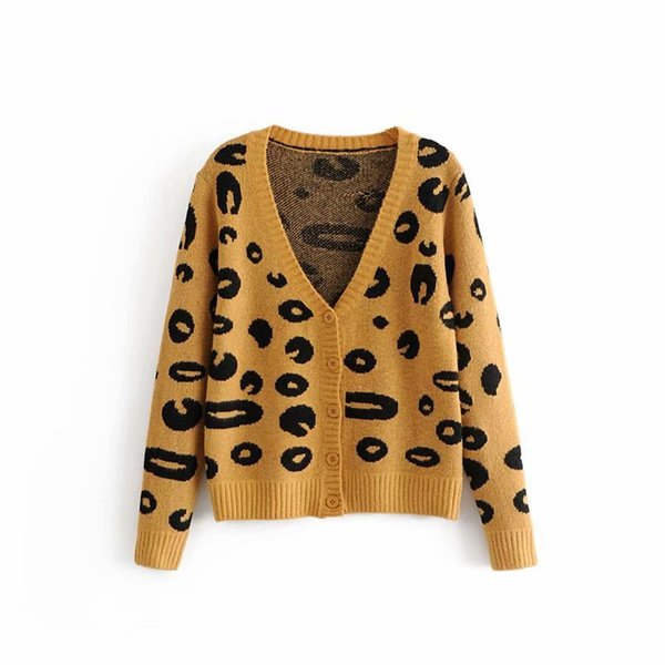 2018 New Stylish Women&#39s Fashion Sweater Leopard Mohair Single Breasted Knitted Cardigans V-neck Full Sleeve Outfits