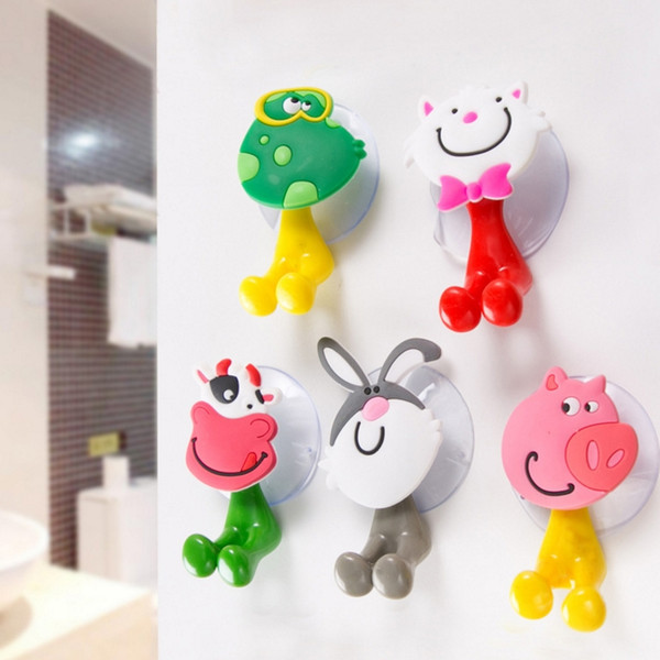 top popular Toothbrush Holder Animal Suction Cup Cartoon Wall Suction Holder Sucker Bathroom Accessories Kids Christmas Gift Pig Frog Rabbit Cow YW1554 2021