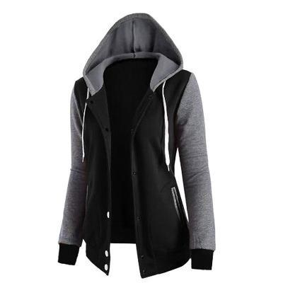 Atacado das mulheres splice cordão com capuz bolso de mangas compridas de quatro botões botões jaqueta casaco jaqueta sweatershirt das mulheres frete grátis