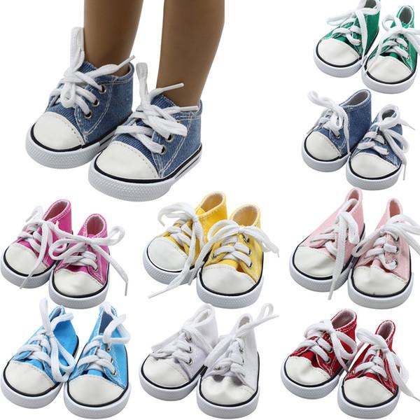 ARLONEET Bebek Ayakkabıları Kız Erkek Tuval Lace Up PU Sneakers Ayakkabı 18 inç Amerikan çocuklar Için