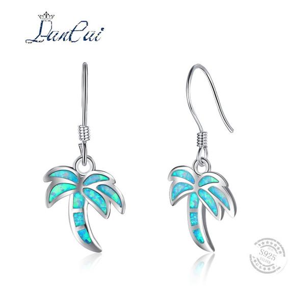 LANCAI 925 Sterling Silver Blue Fire Opal Earrings Bohemia Beach Coconut Tree Drop Earrings for Women Fine Jewelry Hot Selling