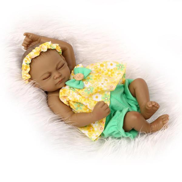 "Wholesale- 11"" Mini Black Doll Reborn baby dolls silicone full body girl Waterproof Lifelike Doll for Kids"