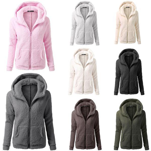 Invierno Sherpa Pullover Chaqueta Con Capucha Mujeres Cremallera Fleece Soft Warm Coat Abrigo Outwear Thicken Warm Home Clothing 8Colors 8size AAA1025