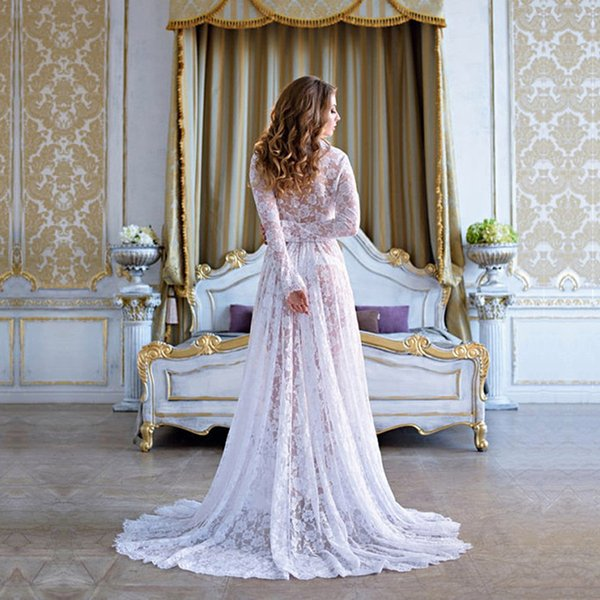 New Maternity Photography Props Lace Long Dress V-neck Floor Length Eyelashes Lace Maternity Photo Shoot Gown