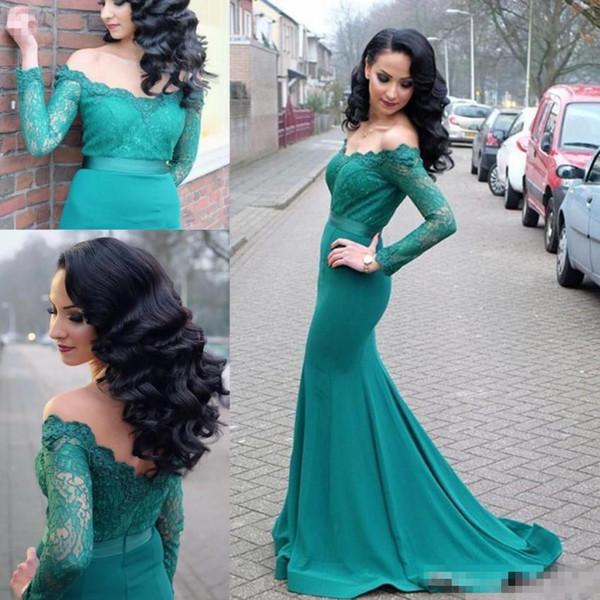 2019 Aqua Mermaid Prom Dresses Off Shoulder Long Sleeves Sweep Train Vintage Evening Gowns Arabic Formal Party Dresses Custom Made