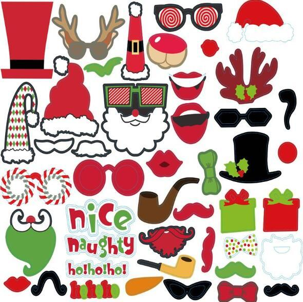 Christmas DIY Photo Props Funny Mask Merry Christmas Photobooth Happy New Year Party Supplies Christmas Decorations
