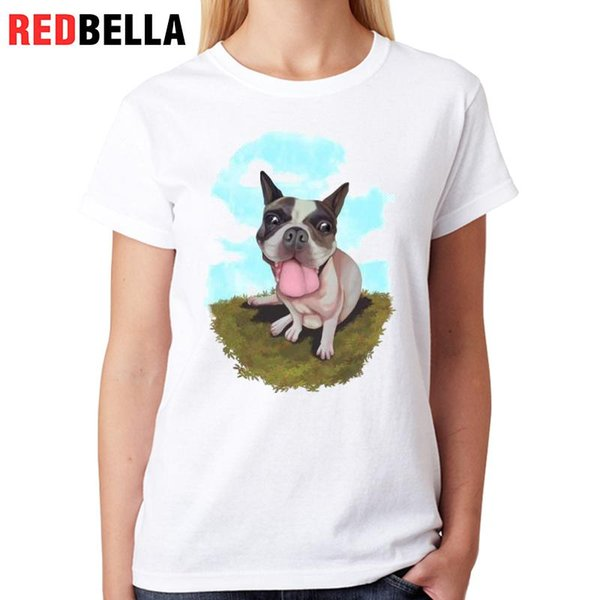 Women's Tee Redbella T-shirt Women Pug Dogs Cute Funny Cool Animal 3d Print Hipster Graphic Tops Casual Cotton Fashion Ulzzang White Clothes