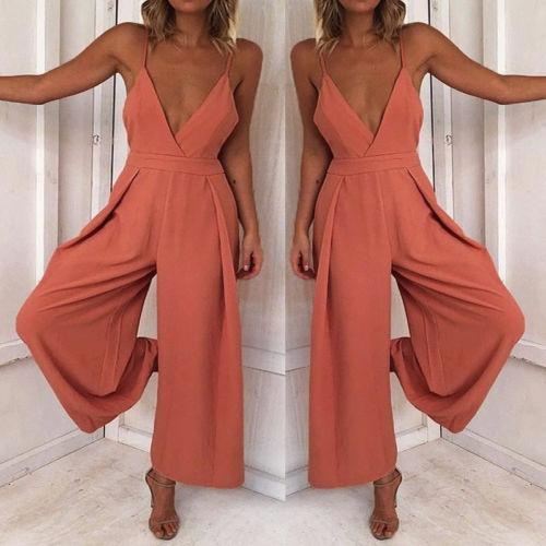 09d7a78fb98 Newest Summer Pink Jumpsuits Women s Sexy Clubwear Playsuit Strappy V Neck  Loose Party Jumpsuit Long Pant Romper Fashion Hot