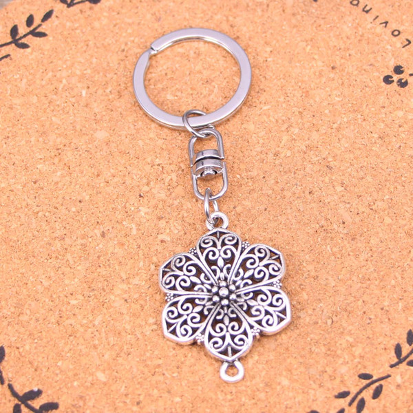New Fashion Keychain 40*28mm flower connector Pendants DIY Men Jewelry Car Key Chain Ring Holder Souvenir For Gift