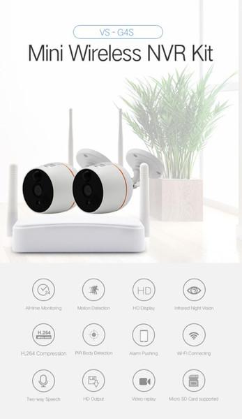 YobangSecurity Home Video Audio Außen IP Kamera 1080P Wifi Mini 4CH NVR Kit Drahtlose CCTV-Überwachungskamera-System