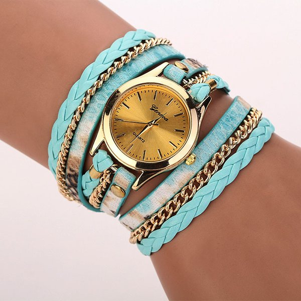 Amecior  Leopard Band Bracelet Braided Winding Wrap Quartz WristWatch Fashion Women Rhinestone Bracelet Watch