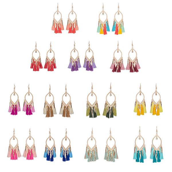 New 13 Color Women Tassel Drop Earring Long Leaf Shape Fringed Ornament Double Twisted Popular Folk Style Earring Gift Ethnic Jewelry D925S