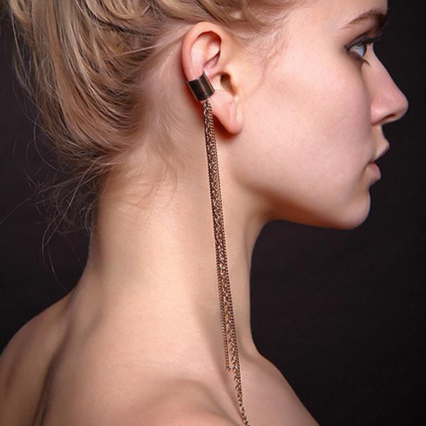 Kittenup 1 PCS Nova Moda Europeia de Ouro-cor Longa Cadeia De Metal Cuff Ear Cuff Jóias Borla Clipe Brincos para As Mulheres Cor Prata