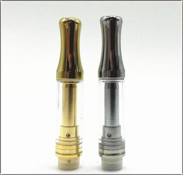 0.5ml 1.0ml Oil vaporizer disposable atomizer Bud vape glass cartridge for E cigarette oil vapor with gold silver metal tip