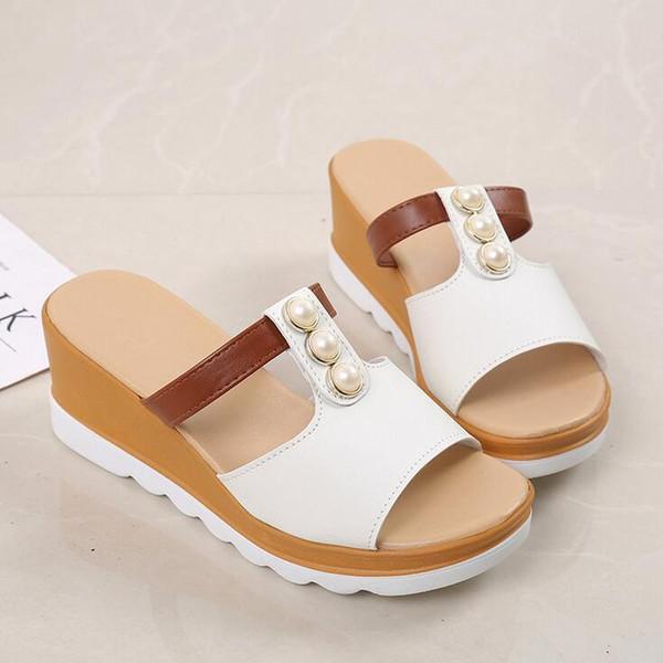 4 COLORS Women Flip Flops Beach Sandals Wedges Ladies Fashion Bling Pearl Slippers Summer Women Flats Shoes
