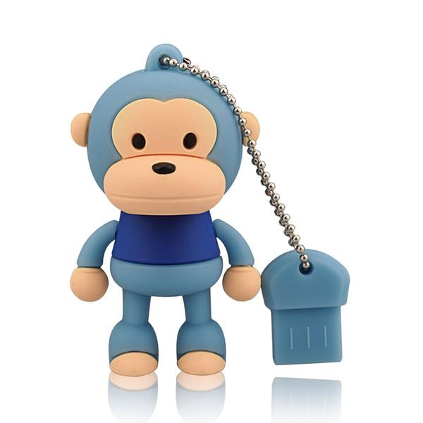 Blue Cartoon Monkey Design 8GB 16GB 32GB 64GB USB Flash Drives Thumb Pen Drives USB 2.0 Memory Stick for Computer Laptop Tablet Pen Storage