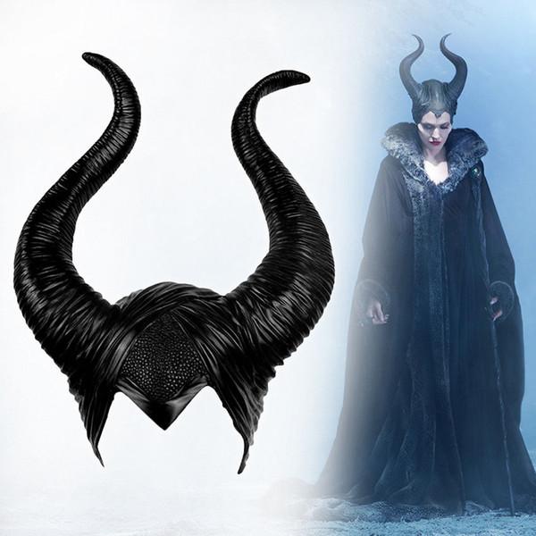 Cosplay de Halloween Maléfica Cuerno de bruja Sombrero Sombrero Máscara Casco Fiesta Casco Negro Reina
