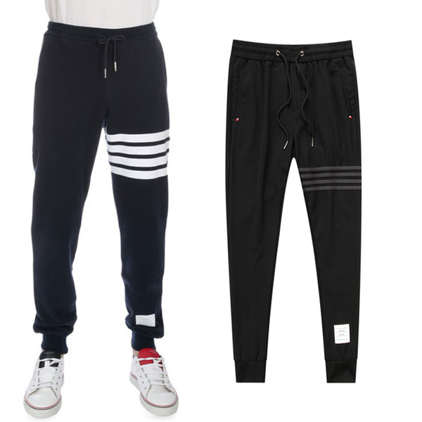 Embroidery Dog Black Sweat Trousers Men 4 Stripes Patchwork Track Pants Leisure Fashion Longsleeve Sweatpant