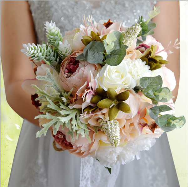 Artificial Wedding Flowers Wedding Bouquets For Brides Outside Wedding Decorations Lace Bridal Bouquets Pink White Red Bridesmaid Bouquet Wedding