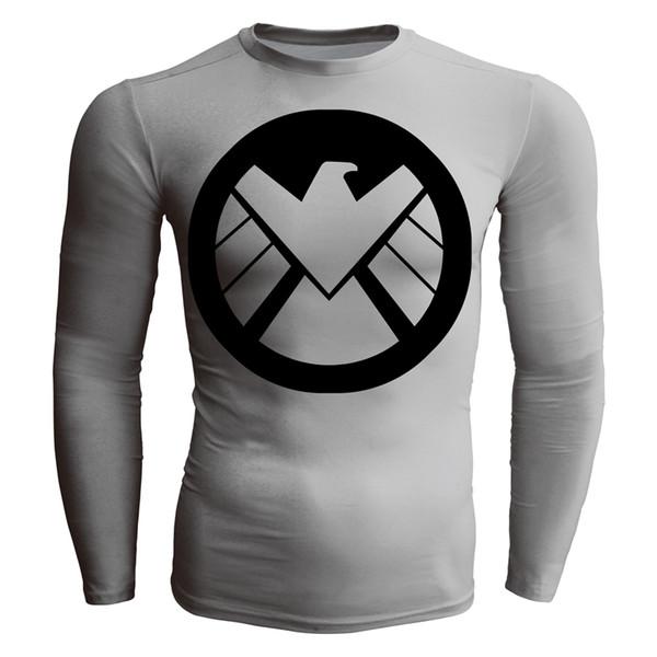 Men's fashion creativity gray shield t-shirt tights tee superhero sport long sleeves cycling fast dry basketball vest