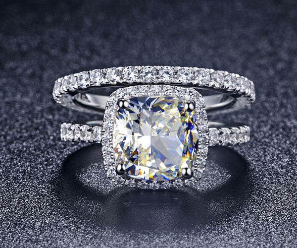 Luxury Quality NSCD Synthetic Gem 3 Carat Cushion Cut Engagement Wedding Ring Set For Women,Bridal Set S18101607
