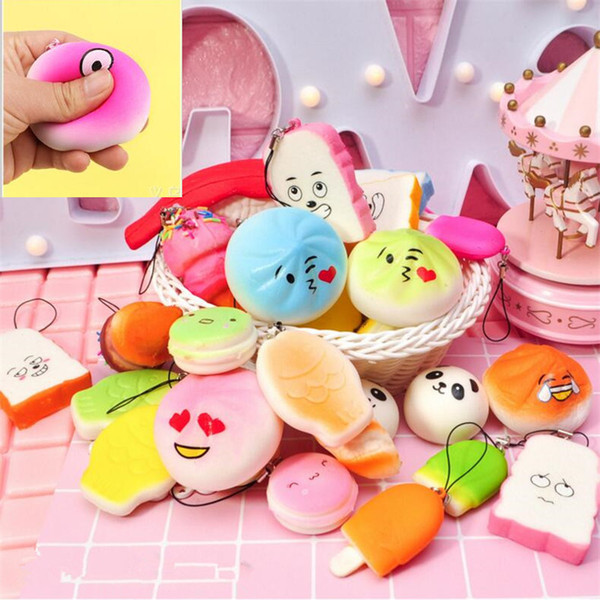 3D Kawai Squishies toy Slow Rising Squishy Charm Rainbow sweetmeats ice cream cake bread Strawberry Bread Charm Phone Straps Soft Fruit Toys