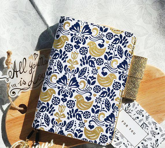 The Golden Bird Creative Floral Design Hobonichi Style Journal Cover A5 A6 Suit For Standard A6/A6 Fitted Paper Book
