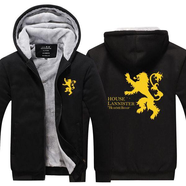 Männer Sweatshirts Jacke Samt Großhandel Haus Spiel Mantel Zipper Mit Strickjacke Winter Lannister Hoodies Kapuze Thronen Pullover Verdicken Von uT3JcF1l5K
