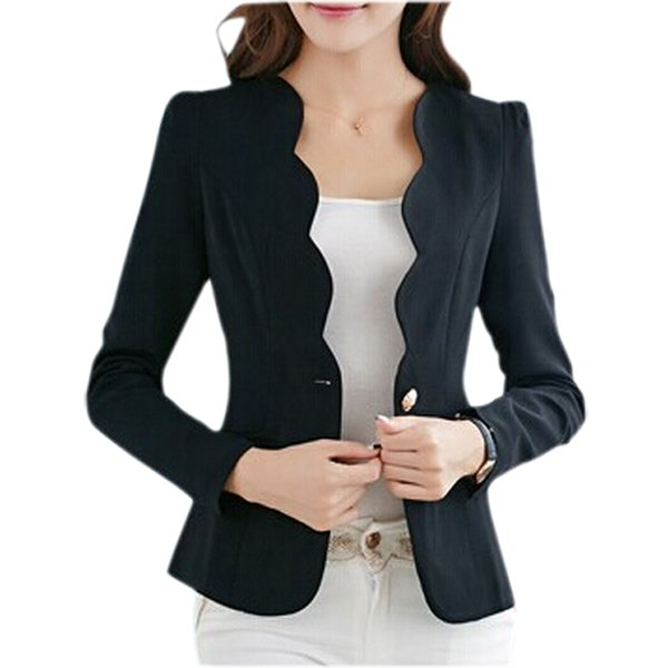 New Hot Stylish Comfortable Women's Blazers Candy Color Suit Office Ladies Button Blazer Elegant Slim All Matched Solid Blazer Q190429