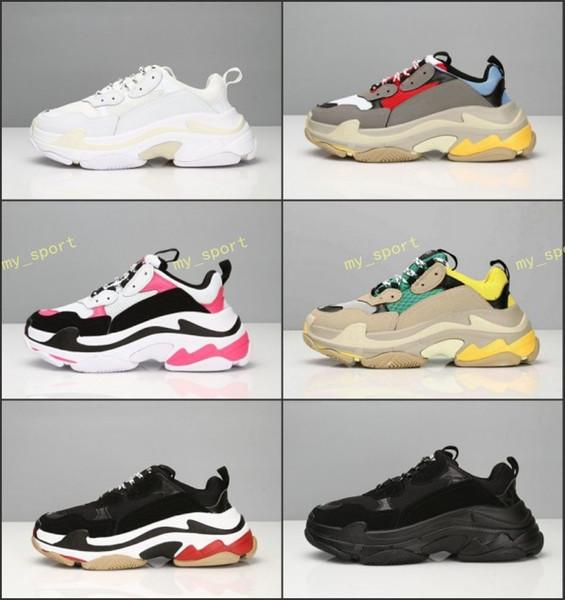 Hot!!2019 Fashion Paris 17FW Triple-S Sneaker Triple S Casual Dad Shoes for Men's Women Beige Black Ceahp Sports Designer Shoe Size 36-45