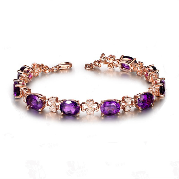 Luxury 18K Gold Color Natural Purple Crystal High Quality Four Leaf Bracelet Oval Cubic Zirconia for Women Gift Jewelry Wholesale