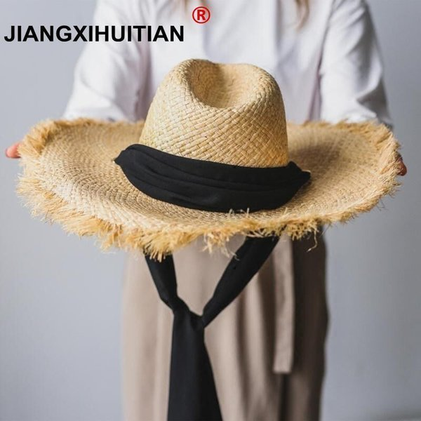 Handmade Weave 100%Raffia Sun Hats For Women Black Ribbon Lace Up Large Brim Straw Hat Outdoor Beach Summer Caps Chapeu Feminino S18101708