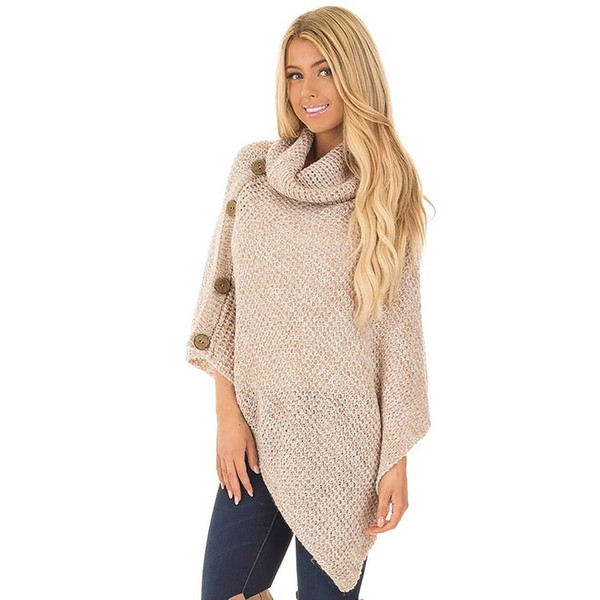WomenTurtleneck Sweater Cloaks Fashion Batwing Sleeve Knitted Jumper Poncho Ladies Button Irregular Pullover Cape Pull