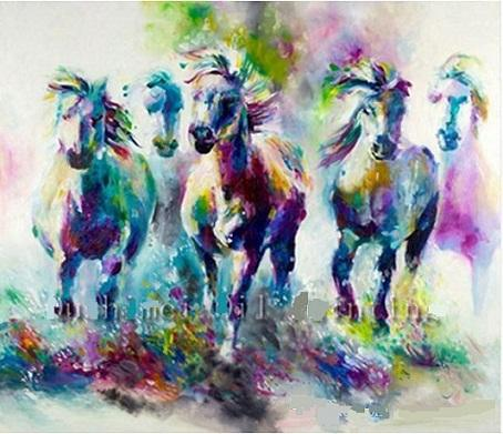 Hot Colorful Abstract Horses Hand Painted Modern Home Deco Abstract Animal Wall Art Oil Painting On Canvas.Multi sizes Frame Options al-Dafe