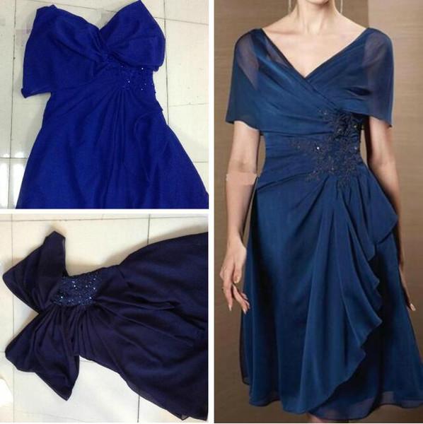 O Envio gratuito de Vestidos da Mãe Off-ombro A-line Drapeado Na Altura Do Joelho Chiffon Com Applique e Beading Mãe do Vestido de Noiva