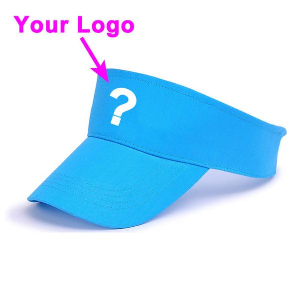 Шляпа солнца без короны 100% хлопок взрослый светло-синий цвет регулируемый размер открытый теннис гольф козырек шляпа бейсбол пользовательские cap