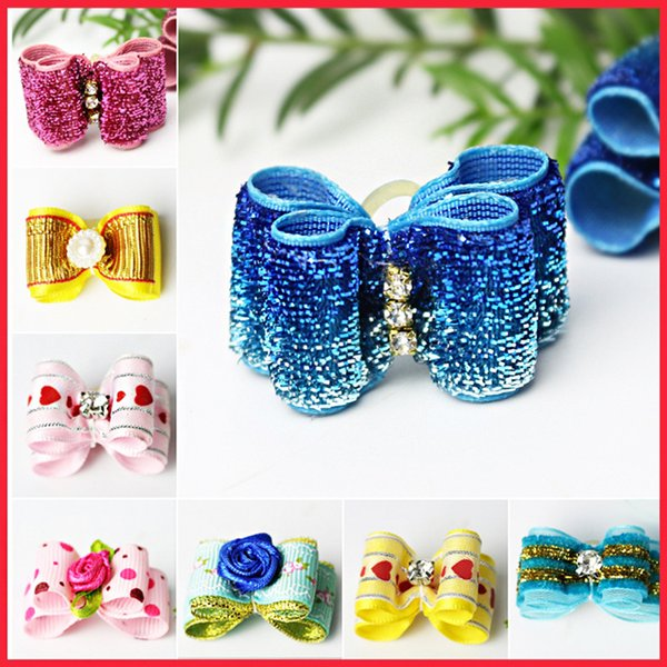 Handmade Pet Puppy Dog Cat Hairpin Hair Bows Dog Hair Clips Pet Dog Grooming Accessories Decorative Pet Hair Accessories